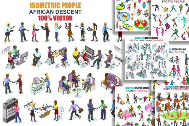 Isometric People African Descent