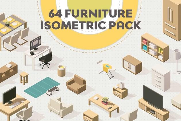 Furniture Isometric Flat Set