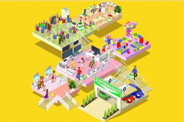 Flat 3D Isometric Shopping Mall
