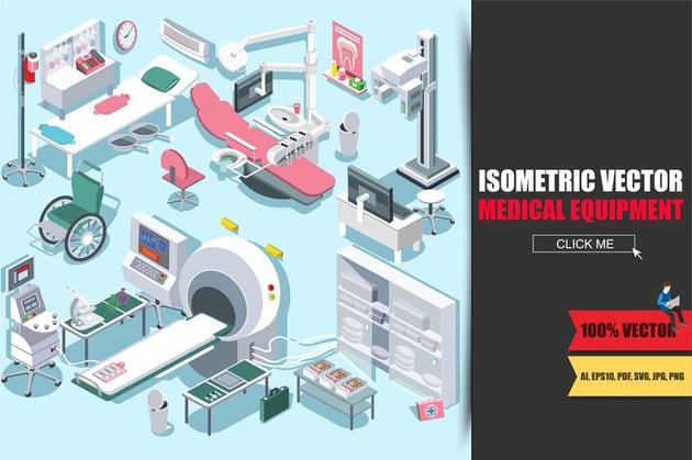 Medical Equipment Isometric Flat