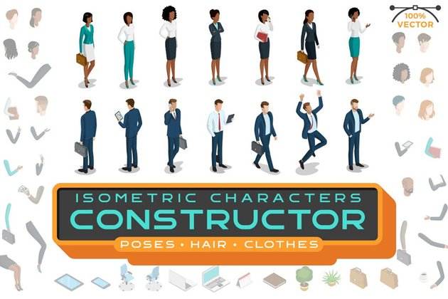 Isometric Characters Constructor Kit