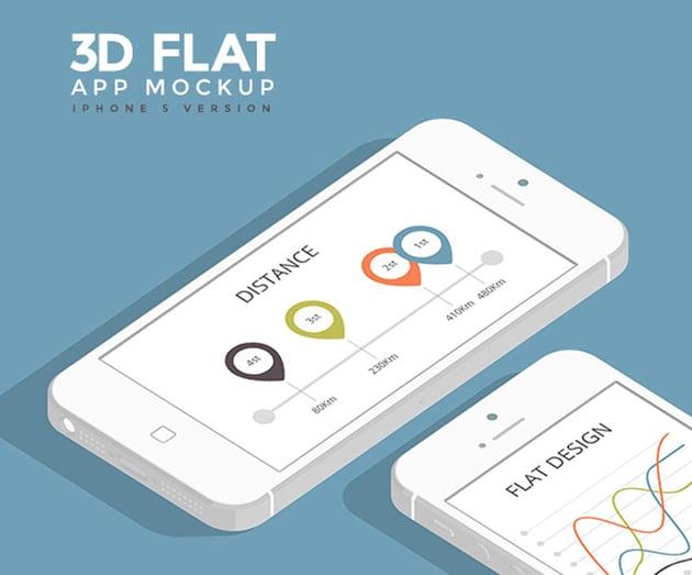 3D Flat App Mockup