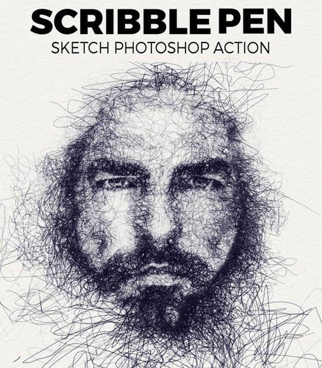 Scribble Pen Sketch Photoshop Aktion