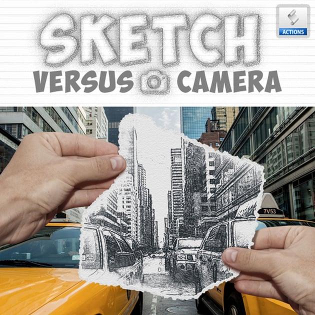 Bleistiftskizze vs. Kamera Fotoeffekt Photoshop Action