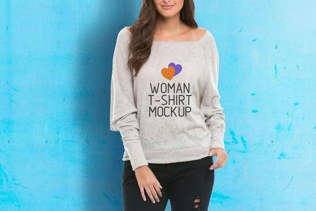 Woman Wearing Sweater Mockup