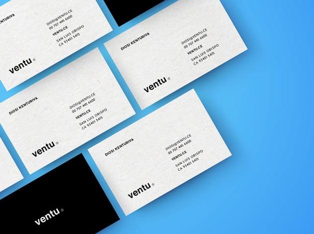 Blue Business Cards Mockup