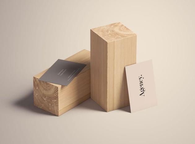 Business Card Mockup on Wood Blocks