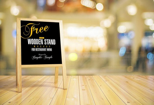 Wooden Chalkboard Stand Mockup