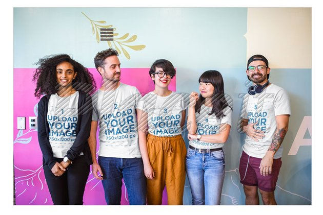 Coworkers Wearing T-Shirts Mockup