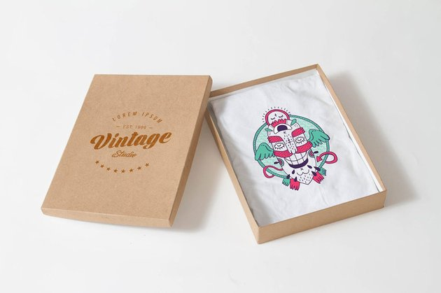 T-shirt in Box Mockup