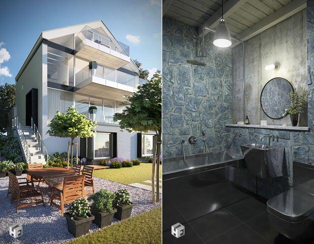 Exterior and Bathroom