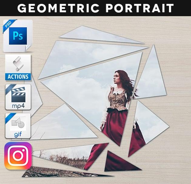 Animated Broken Geometric Portrait Action