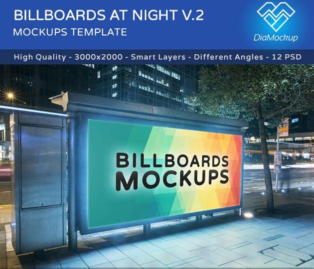 Billboard Mockups at Night Vol2