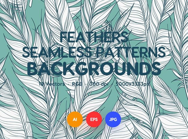 Feathers Seamless Patterns