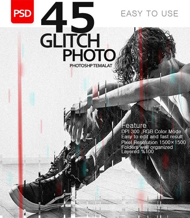 45 Glitch Effect Photo Template