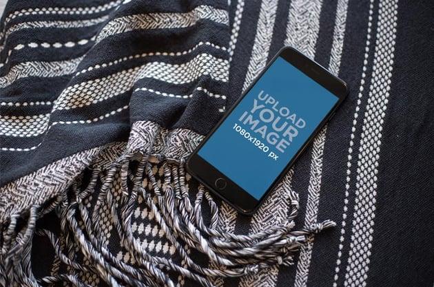 iPhone Lying on a Wool Blanket