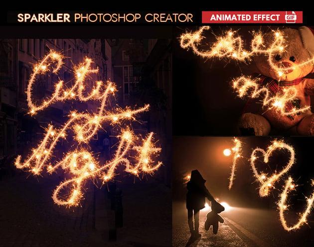 Sparkler Photoshop Action Animated GIF