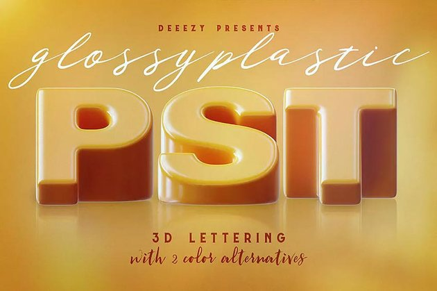 Glossy Plastic  3D Lettering Text Effect