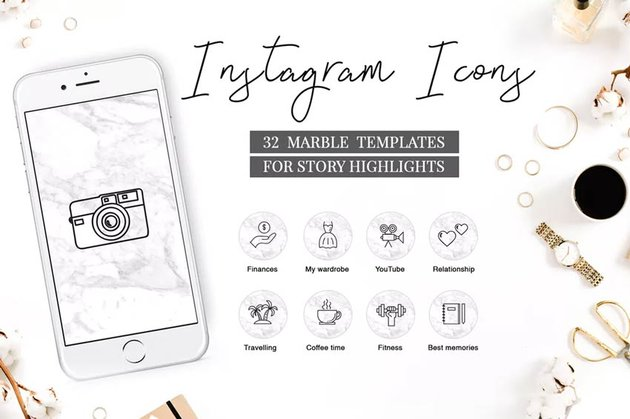 Instagram Highlight Icons Marble