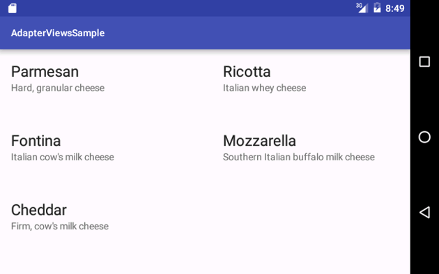 GridView with two lines of text per item