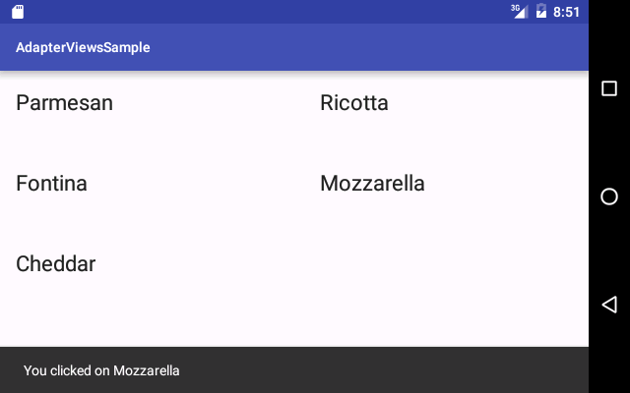 Snackbar Shown When Items Are Clicked