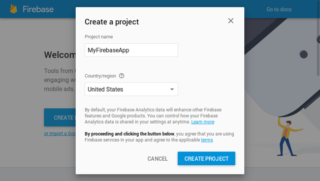 Create a project dialog