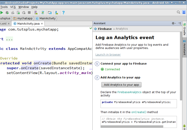 Press Add analytics to your app