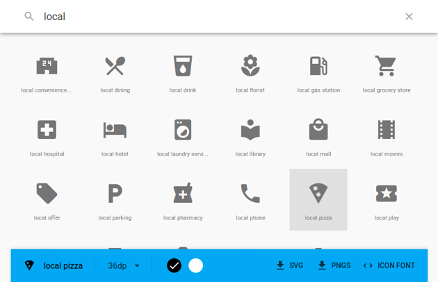 Material Icons page