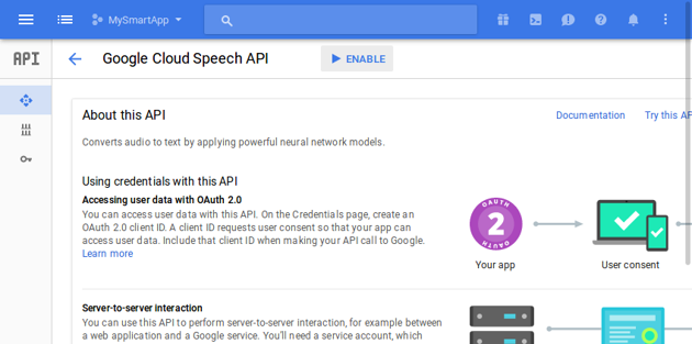 Enabling Cloud Speech API