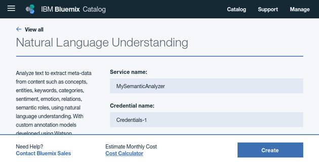 Configuring Natural Language Understanding service