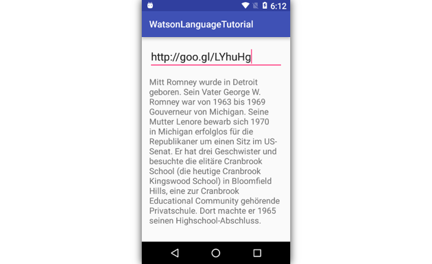 A German webpage converted to plain text
