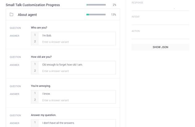 Small talk customization progress section