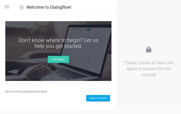 DialogFlow welcome screen
