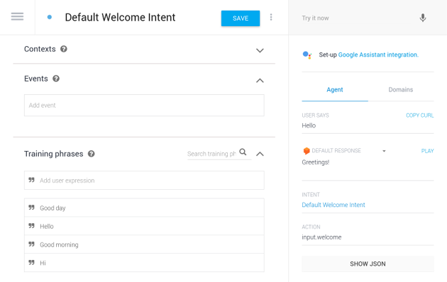 Configuring the default welcome intent