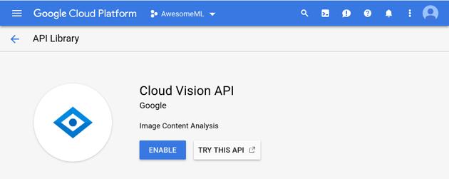 Cloud Vision API activation screen