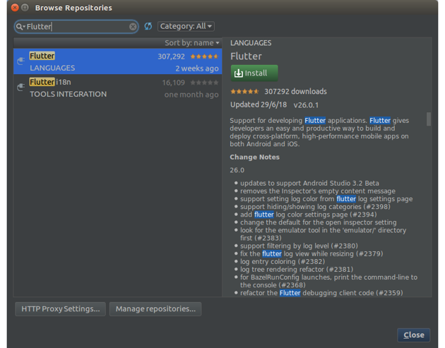 Browse repositories dialog