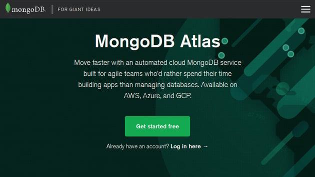 Home page of MongoDB Atlas