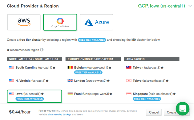 Cloud provider and region selection
