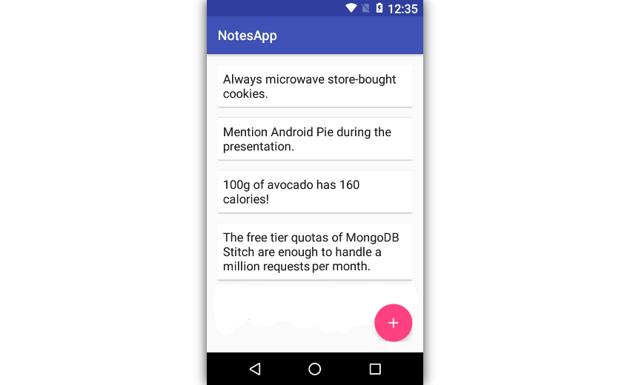 App displaying notes