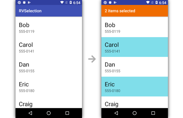 App displaying count of selected items