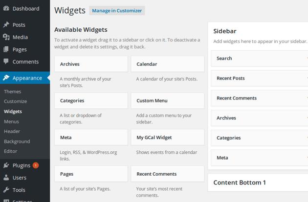 Admin panel widgets page