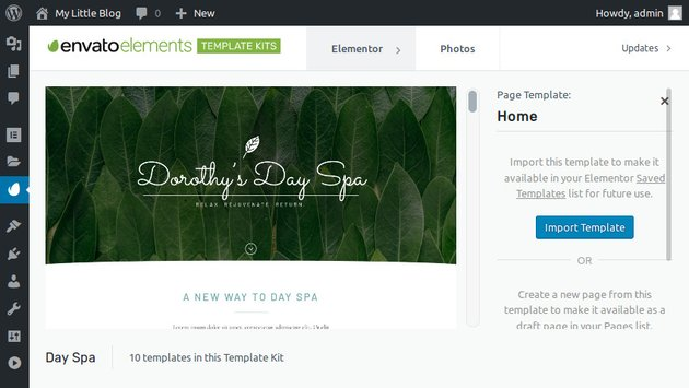 Day Spa Home page template