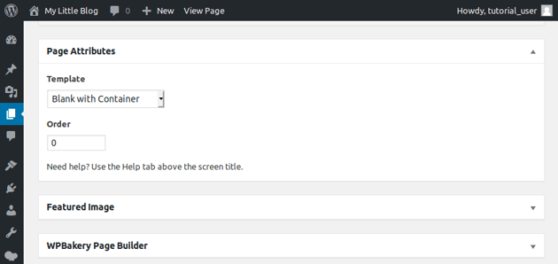 Page Attributes section