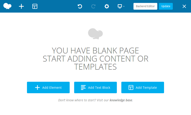 Front-end editor showing blank page