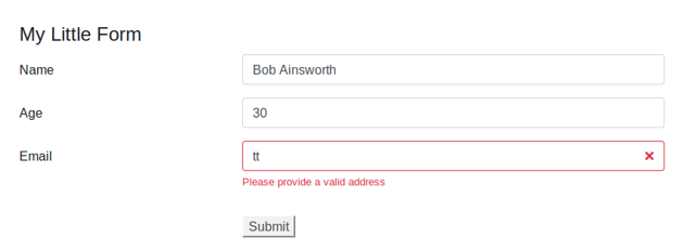 Form showing error message