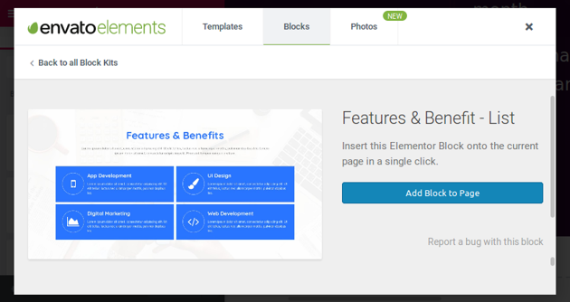 Features and Benefits block