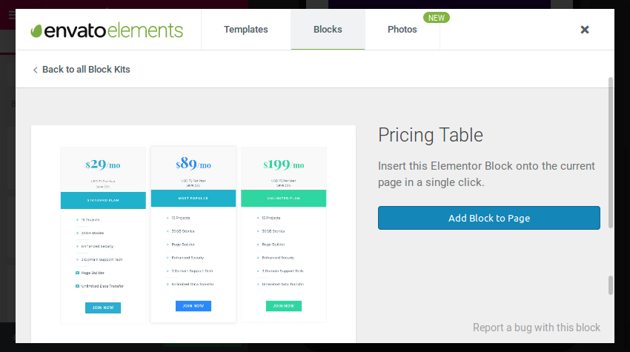 Pricing table block