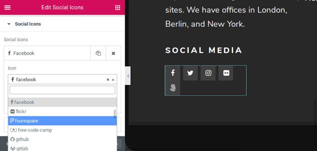 Editing social icons box