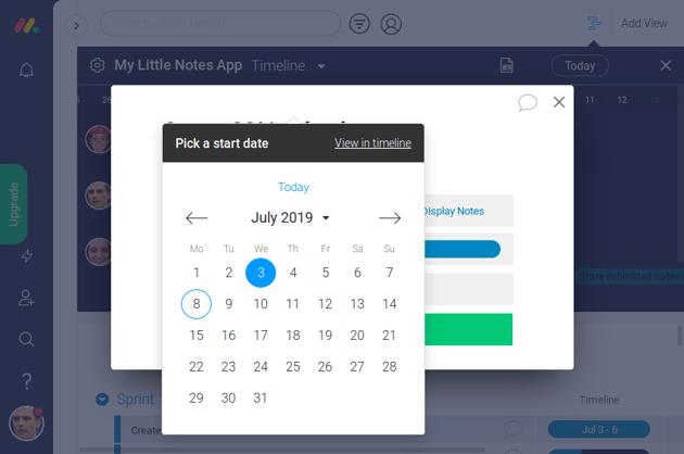 Picking dates using calendar widget