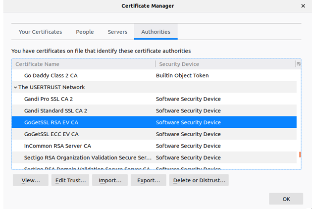 Certificate manager of Mozilla Firefox